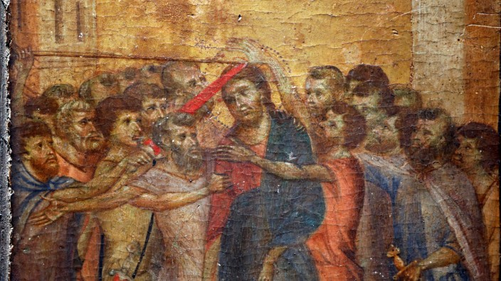 FILE PHOTO: The painting 'Christ Mocked', a long-lost masterpiece by Florentine Renaissance artist Cimabue is displayed in Paris