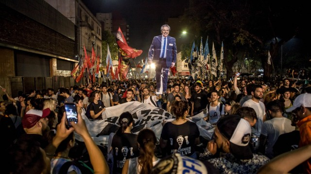 October 27, 2019, Buenos Aires, Federal Capital, Argentina: Elections 2019: Alberto Ferno°ndez beat Macri in the first