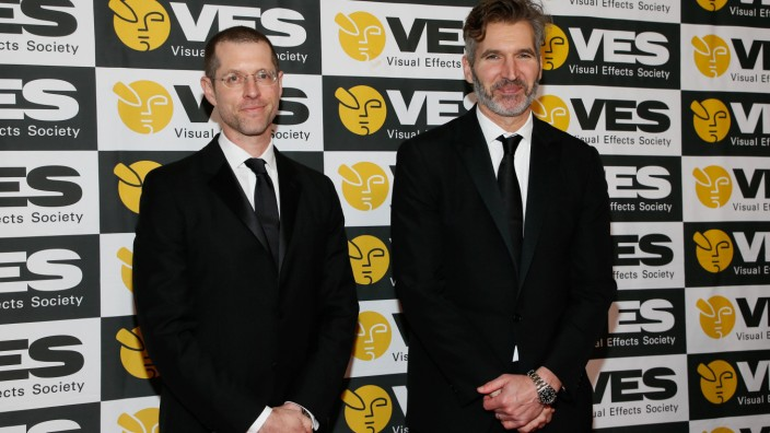 David Benioff left and D B Weiss of Game of Thrones and the Creative Excellence Award recipient
