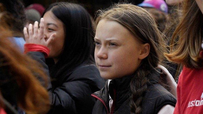 Climate change teen activist Greta Thunberg attends a climate strike at the Vancouver Art Gallery in Vancouver