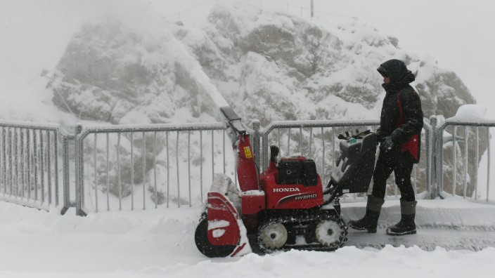 Schnee und Frost auf der Zugspitze