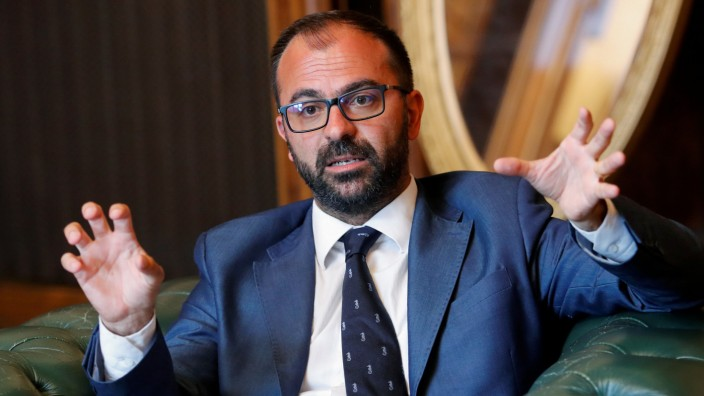 Italy's Education Minister Lorenzo Fioramonti gestures during an interview with Reuters in Rome