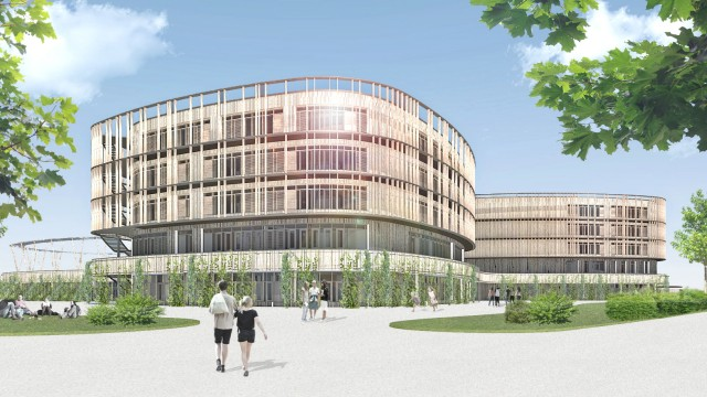 Simulation Neubau des Wilhelm-Hausenstein-Gymnasiums