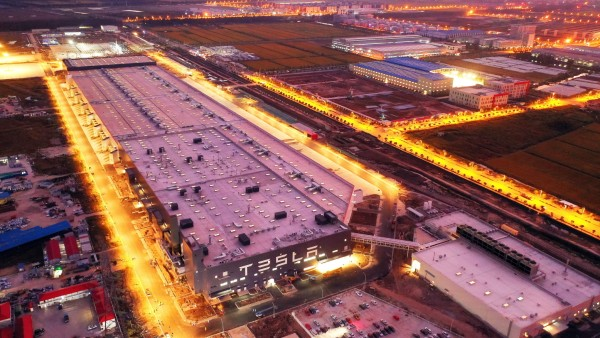 SHANGHAI, CHINA - OCTOBER 18: Aerial view of Tesla Gigafactory 3 under construction at the Lingang Area on October 18, 2