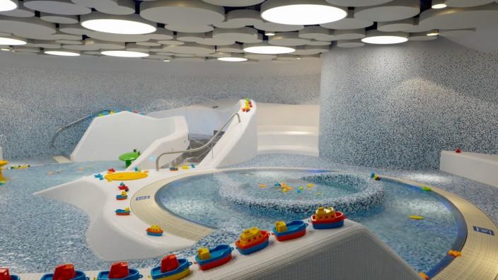 Freizeit in München: Für Kinder gibt es einen eigenen Bereich zum Planschen und Spielen.