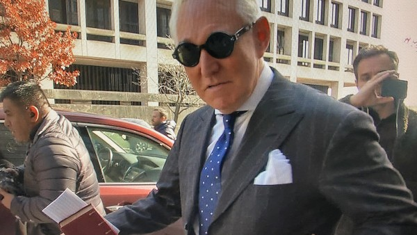 Former Trump campaign aide Roger Stone departs U.S. District Court after being found guilty in Washington