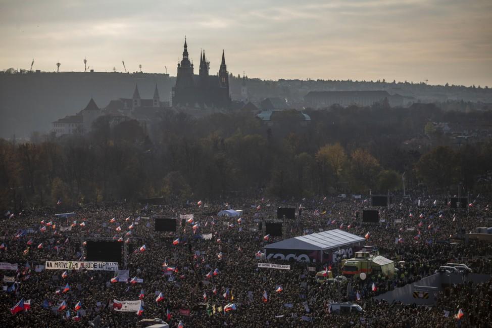 Thousands Protest Against Czech Government On Eve Of Velvet Revolution Anniversary