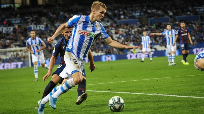 Martin Odegaard of Real Sociedad during the Spanish league football match between Real Sociedad and Levante at the Reale