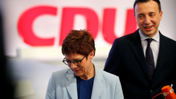 Christian Democratic Union (CDU) party chairwoman Annegret Kramp-Karrenbauer and Secretary General Paul Ziemiak visit the event space ahead of a party meeting in Leipzig