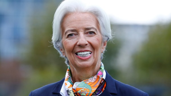 FILE PHOTO: European Central Bank's President Lagarde answers journalists' questions as she arrives at the ECBs headquarter in Frankfurt