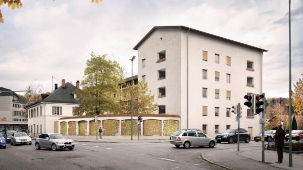 Mehrgenerationenhaus der Maro-Genossenschaft an der Sauerlacher Straße 15 in Wolfratshausen mit Mauer