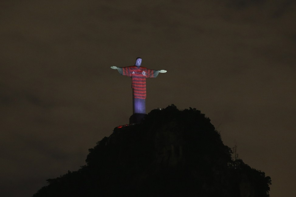 Christ The Redeemer Is Lit Up With Flamengo Colors Ahead Of The Copa CONMEBOL Libertadores 2019 Final Against River Plate