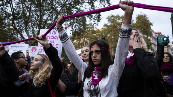 November 23, 2019, Roma, Roma, Italy: Thousands of woman march in Italy to protest alarming feminicide levels and gende