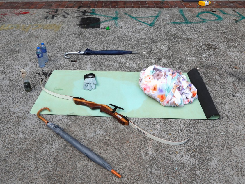 Items left behind by protesters are seen inside Hong Kong Polytechnic University (PolyU) in Hong Kong, China