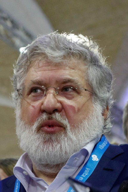 FILE PHOTO: Ukrainian business tycoon Kolomoisky speaks with journalists in Kiev