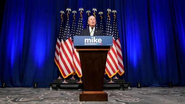 Democratic U.S. presidential candidate Michael Bloomberg addresses a news conference after launching his presidential bid in Norfolk, Virginia