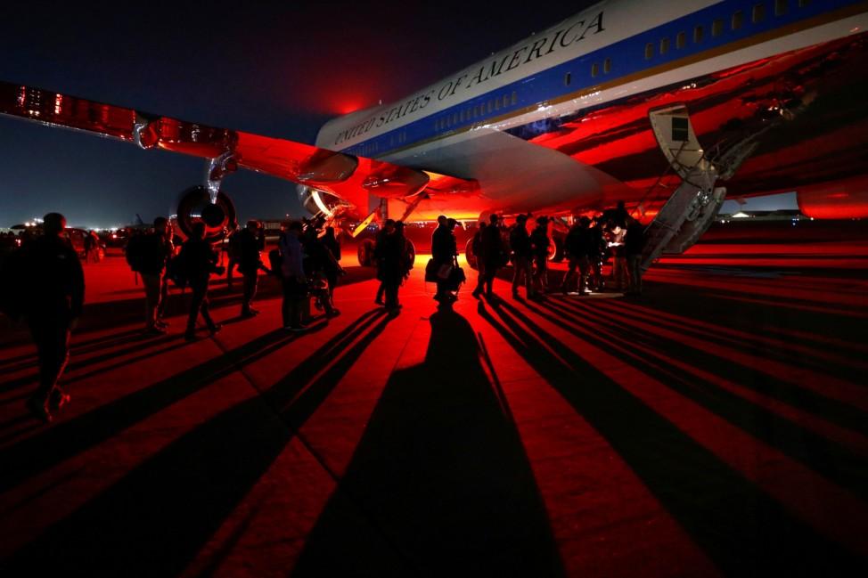 U.S. President Donald Trump makes an unannouced visit to U.S. troops at Bagram Air Base in Afghanistan