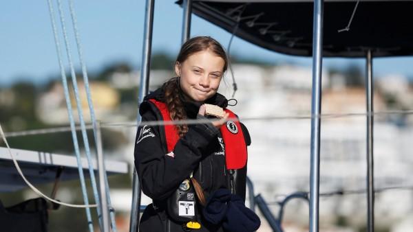 Climate change activist Greta Thunberg arrives in Lisbon