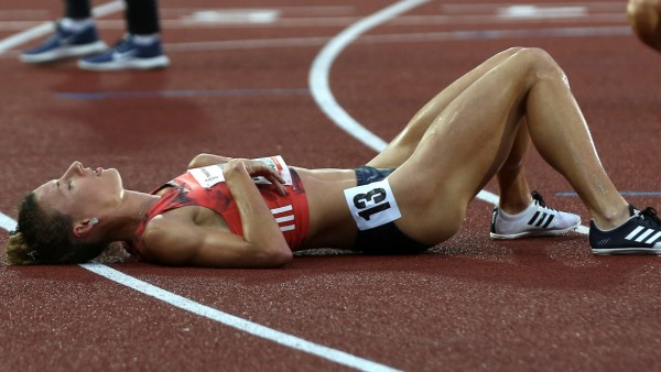 Ophelie Claude Boxberger France is seen after the 3000m hurdles women run during the 57th Golden S