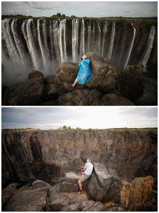 A combination picture shows visitors taking pictures in front of flowing water and dry cliffs following a prolonged drought at Victoria Falls