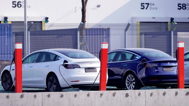China-made Tesla Model 3 electric vehicles are seen at the Gigafactory of electric carmaker Tesla Inc in Shanghai