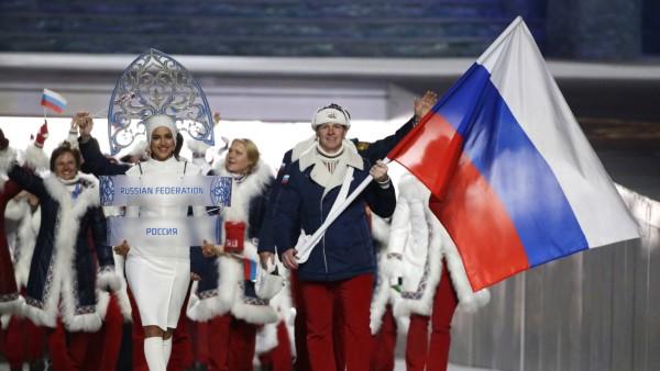 Olympische Spiele: Einmarsch der russischen Athleten in Sotschi 2014