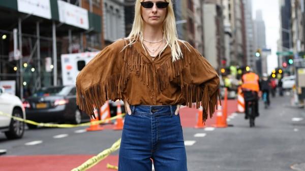 Franziska Nellessen posing on the street outside of the Maryam Nassir show during New York Fashion W