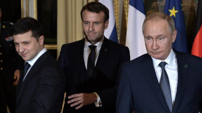 Wladimir Putin und Wolodimir Selenskij beim Ukraine-Gipfel 2019 in Paris