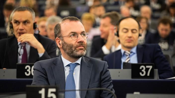 Manfred Weber bei einer Plenarsitzung Europäisches Parlament