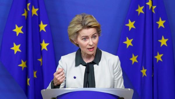 European Commission President Ursula von der Leyen speaks to the media in Brussels