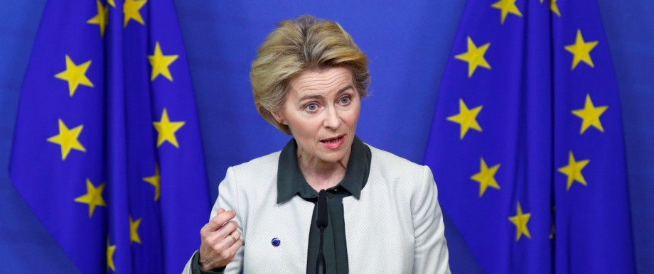 European Commission President Ursula von der Leyen speaks to the media in Brussels
