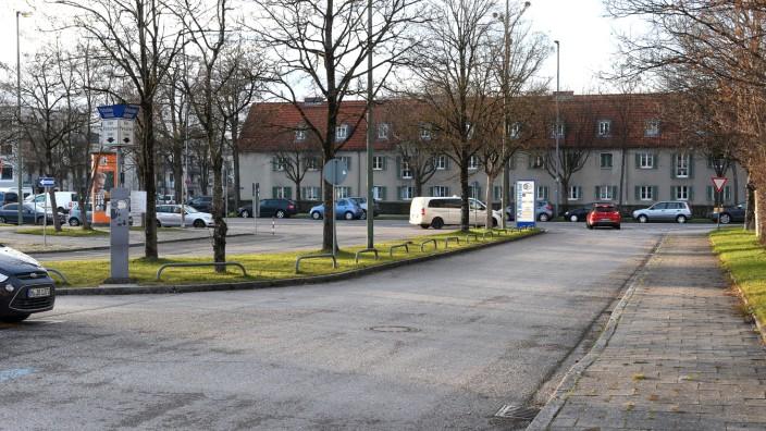 München: der Park and Ride Parkplatz am Michaelibad