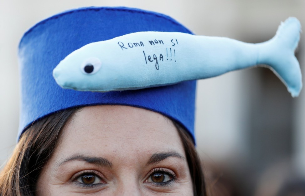 Demonstration held by 'the sardines' in Rome