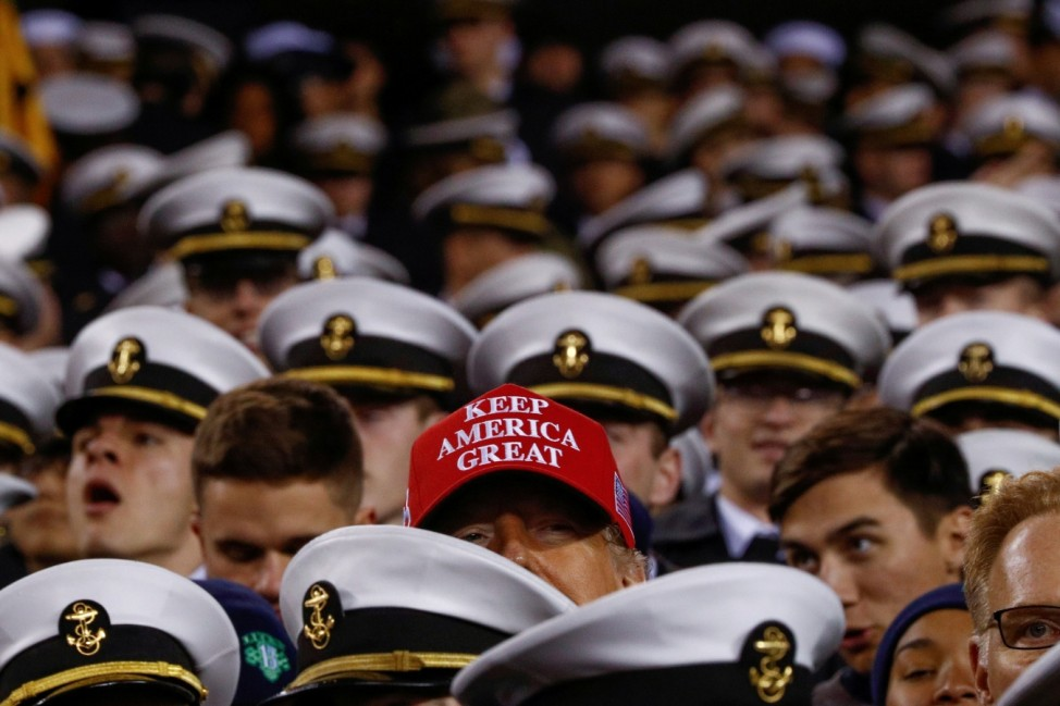 U.S. President Donald Trump attends the annual Army-Navy football game at Lincoln Finnanical Field in Philadelphia, Pennsylvania, U.S.