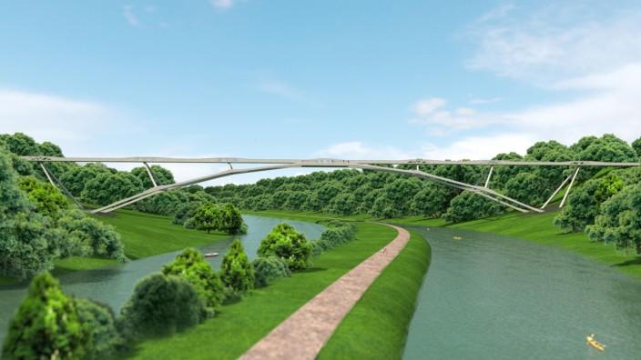 So könnte eine Brücke über die Isar zwischen Grünwald und Pullach aussehen.