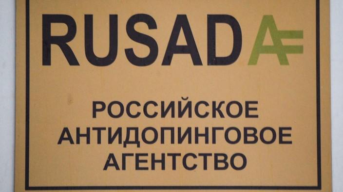 Doping in Russland: Schild der Anti-Doping-Agentur Rusada