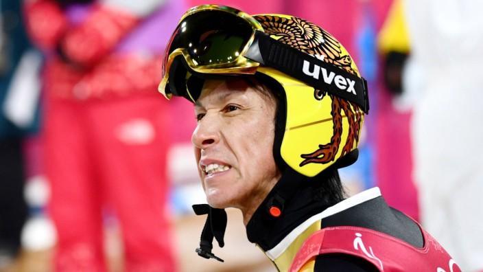 Pyeongchang Olympics Noriaki Kasai of Japan reacts after his second jump in the men s individual nor; imago