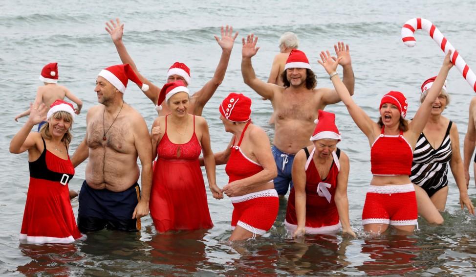 Weihnachtsbad der Rostocker Seehunde
