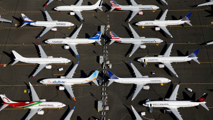 FILE PHOTO: FILE PHOTO: Grounded Boeing 737 MAX aircraft are parked at Boeing Field in Seattle