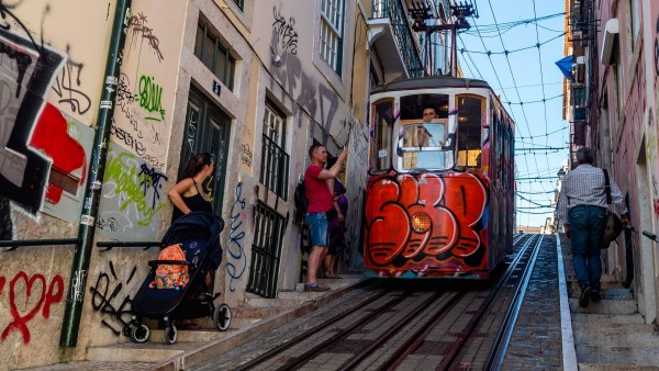 May 30 2019 Portugal Tourists take photos of the famous tram 28 The Camino de Santiago the Wa