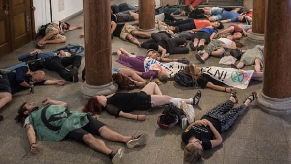Protestaktion gegen das Kohlekraftwerk im Rathaus München; Protest Rathaus München