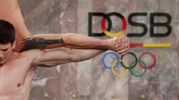 Gymnasts perform during a ceremony marking the 10th anniversary of the German Olympic Sports Confederation in Frankfurt