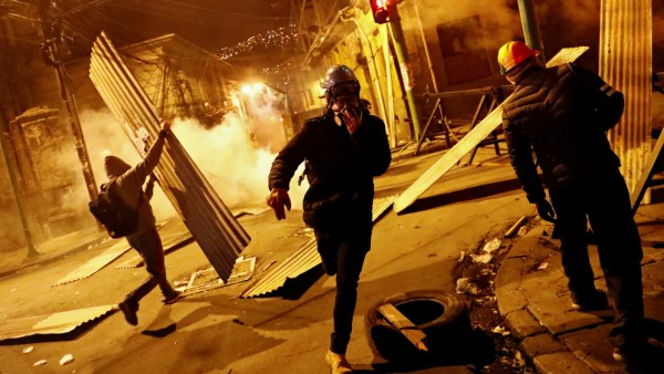 Clashes between protesters against Bolivia's President Evo Morales and government supporters in La Paz