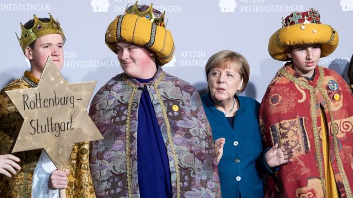 Sternsinger bei Bundeskanzlerin Merkel
