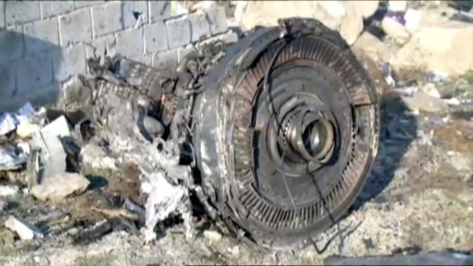 One of the engines of Ukraine International Airlines flight PS752, a Boeing 737-800 plane that crashed after taking off from Tehran's Imam Khomeini airport