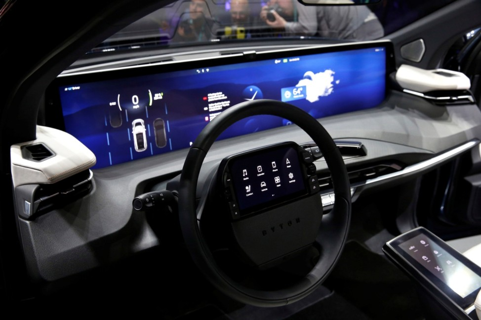 An interior view of the Byton M-Byte all-electric SUV, expected to enter mass production this year, is shown at a news conference during the 2020 CES in Las Vegas