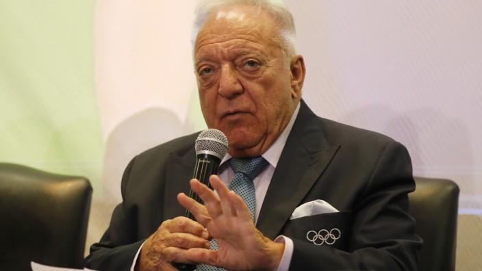 November 6, 2019, Lima, Peru: TAMAS AJAN, President of the International Weightlifting Federation gives a press conferen
