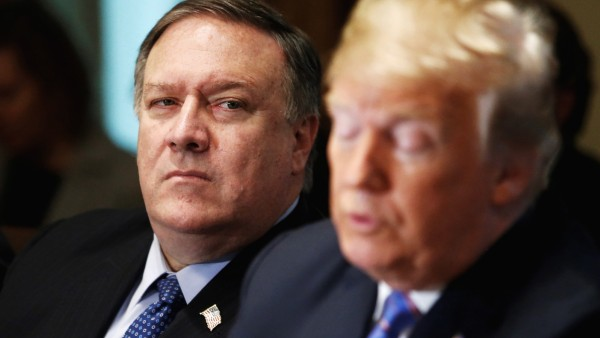 FILE PHOTO:    U.S. Secretary of State Pompeo listens as U.S. President Trump holds cabinet meeting at the White House in Washington
