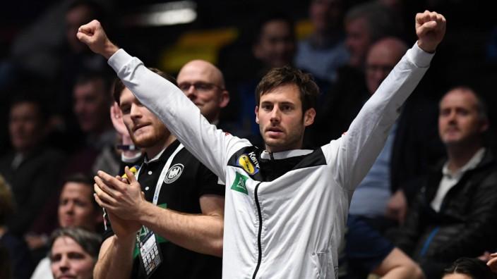 Handball EM: Uwe Gensheimer jubelt beim Spiel Deutschland gegen Niederlande