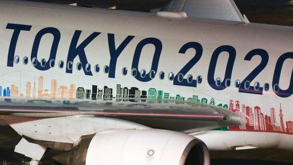 November 23, 2019, Tokyo, Japan: A Japan AirLine airplane can be seen with the logo of the Tokyo 2020 Olympics at Haneda; Tokio